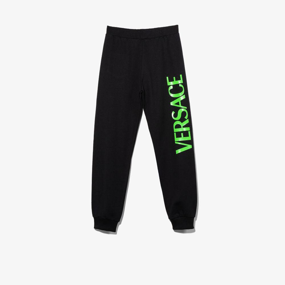 Versace Teen Logo Print Track Pants In Black
