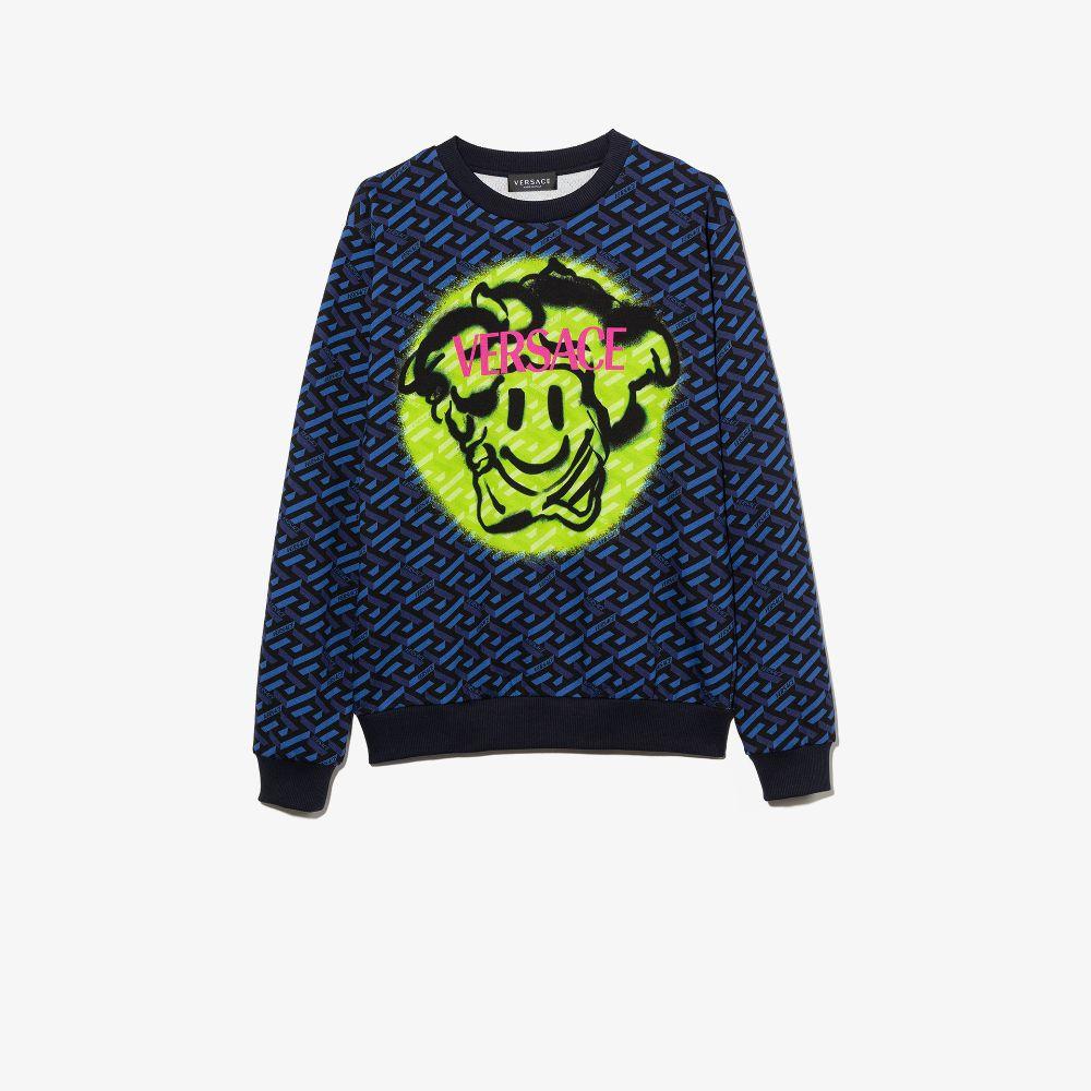 Versace Teen Medusa Emoji Sweatshirt In Blue