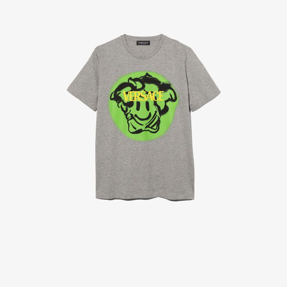 Versace Teen Medusa Emoji Print T-shirt In Grey