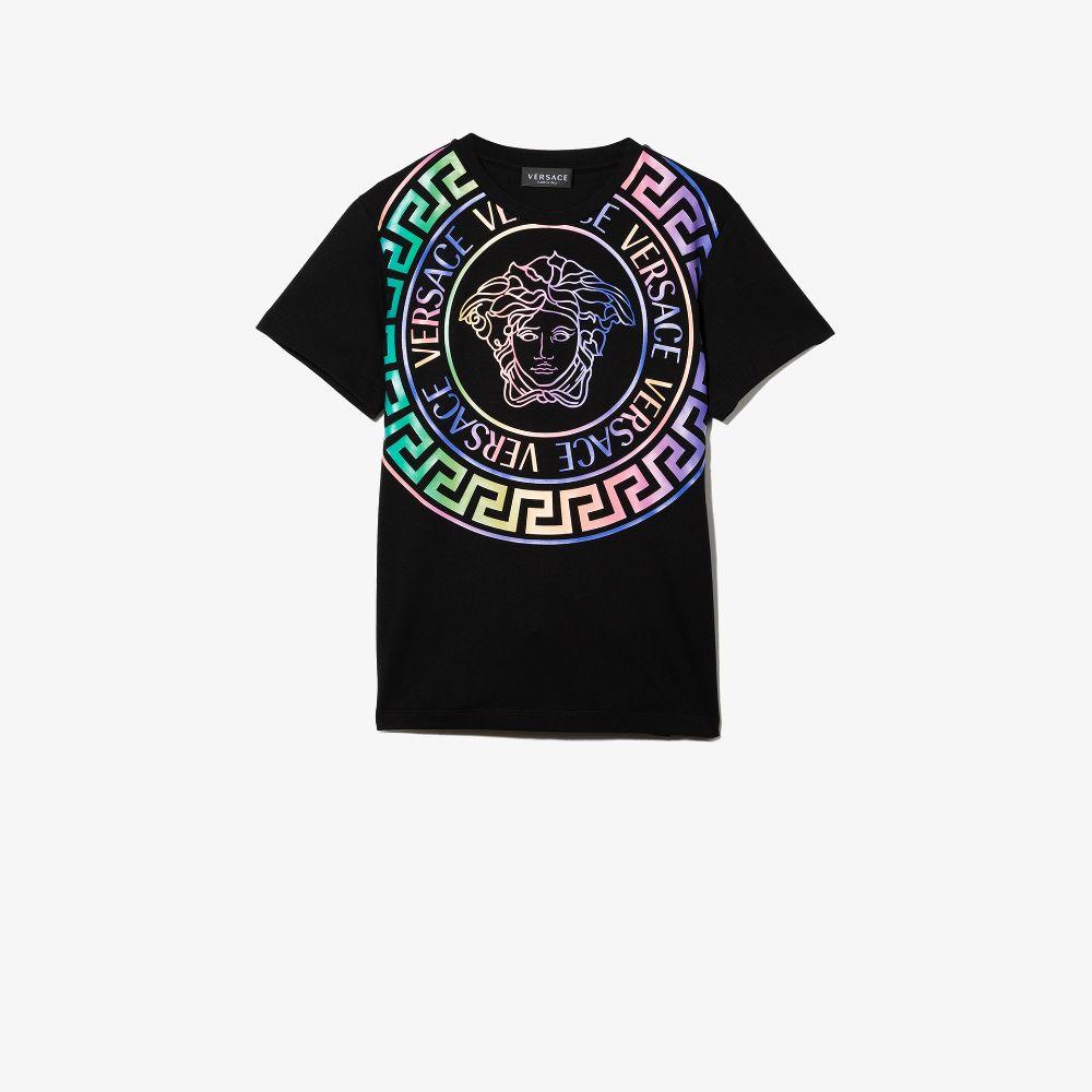 Versace Kids' Black Medusa Print Cotton T-shirt