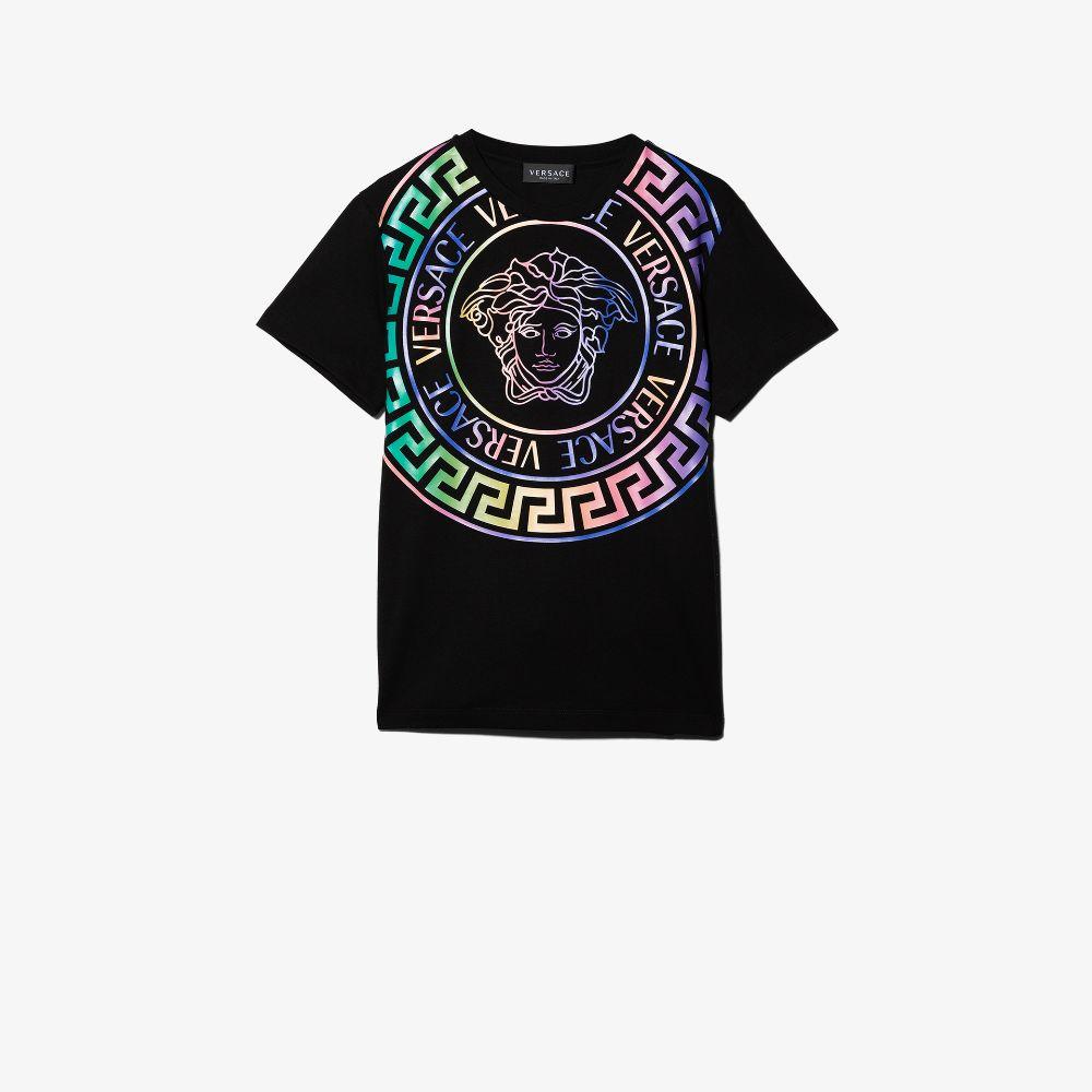 Versace Teen Medusa Print Cotton T-shirt In Black