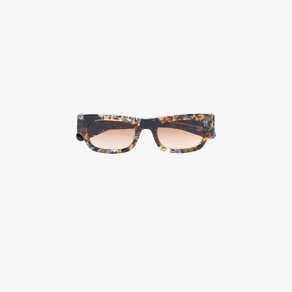 Brown Frankie Safari Print Rectangular Sunglasses
