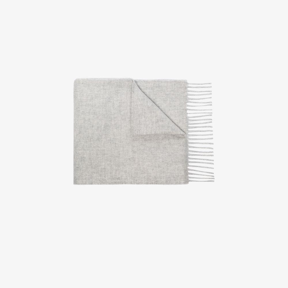 Light Grey Fringed Cashmere Scarf