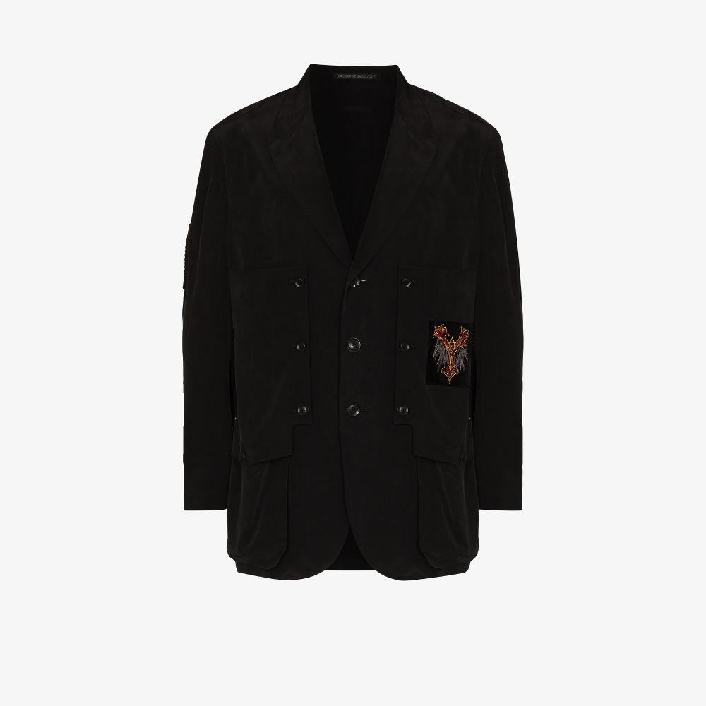 Yohji Yamamoto Black Embroidered Chest Patch Blazer