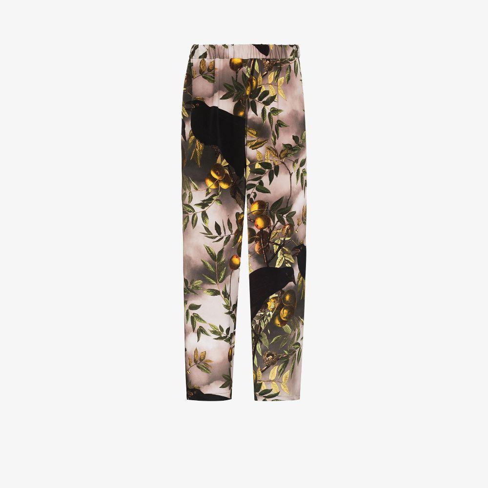 Bird Print Silk Trousers