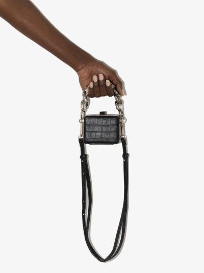 black Ralphie mock croc mini bag