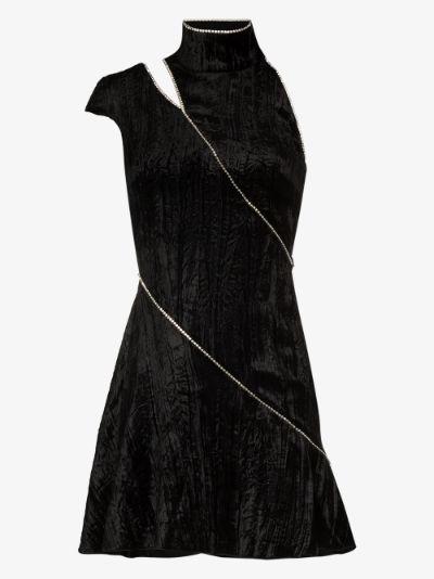 Dahlia crystal stripe velvet mini dress