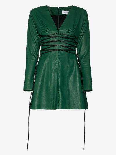 Iris v-neck leather mini dress