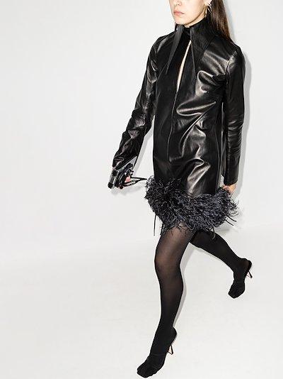 michelle feather trim leather mini dress