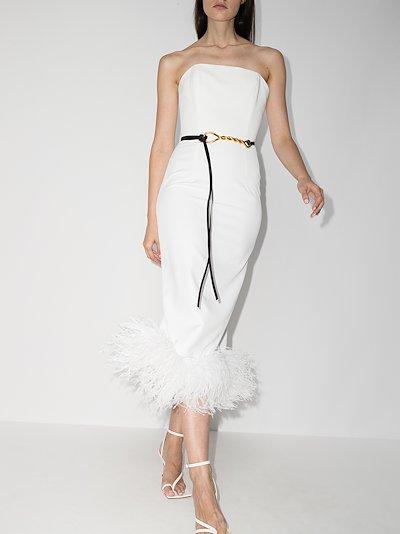 Minelli feather trim midi dress