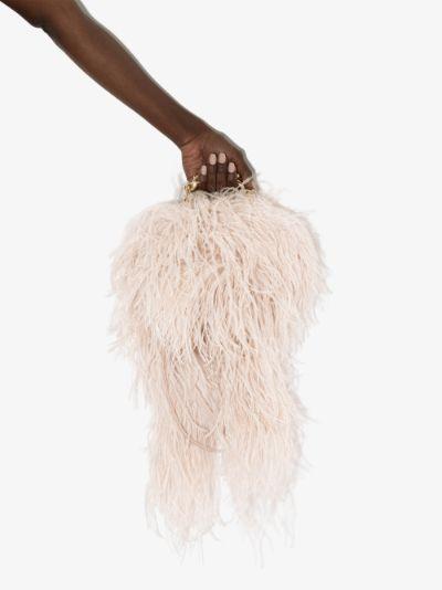 Neutral Ralphie feather clutch bag