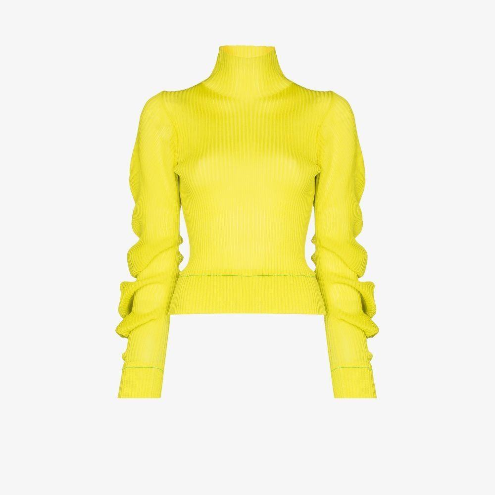 Bottega Veneta Spiral Sleeve Silk Sweater In Green
