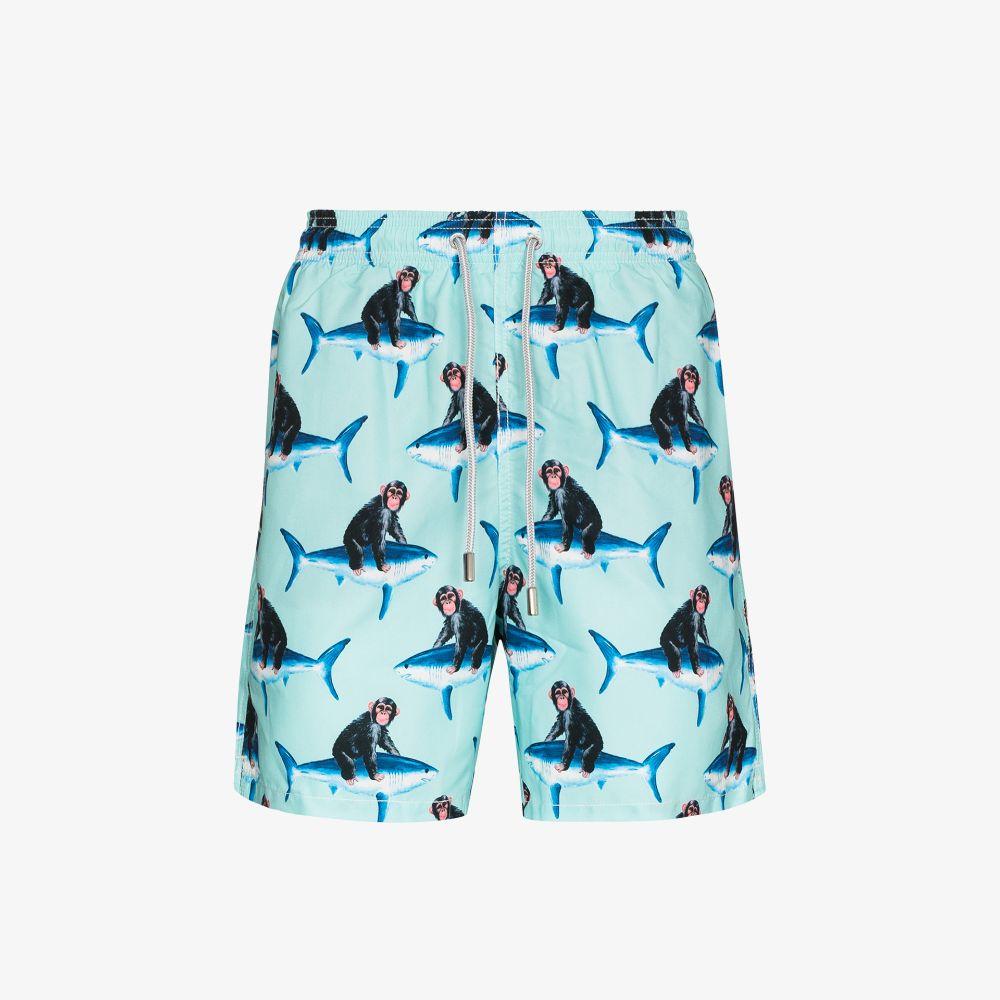 Mc2 Saint Barth Neutrals Monkey Riding Print Swim Shorts