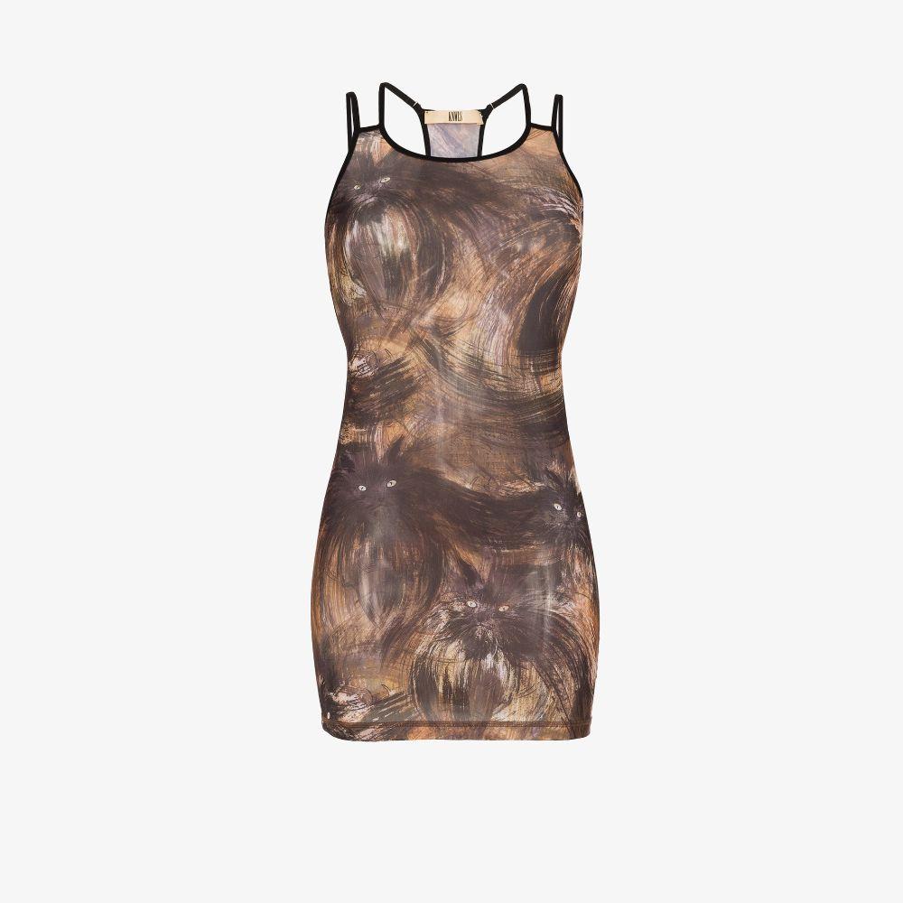 Vortex Cat Print Mini Dress