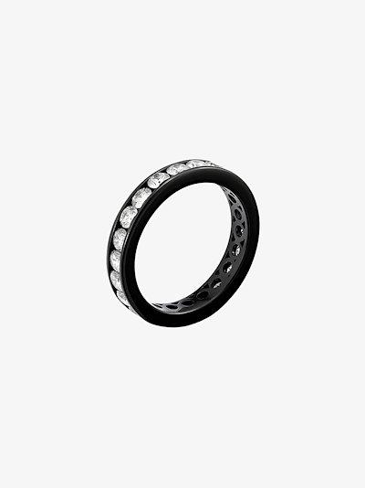 18K black gold diamond ring