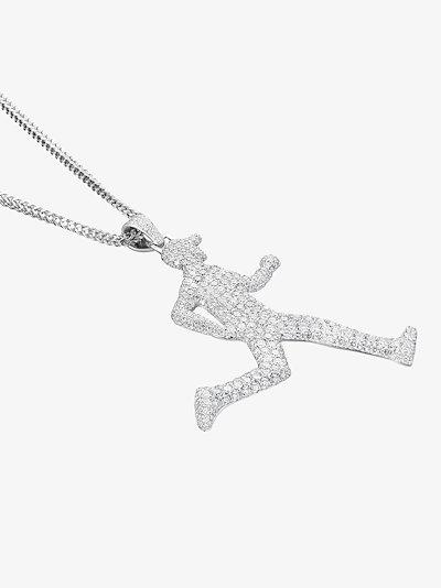 18K white gold running man diamond necklace