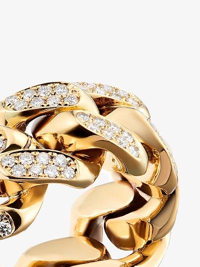 18K Yellow gold Cuban diamond ring