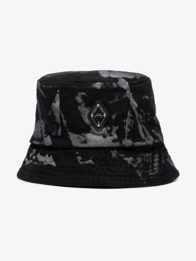 Black panelled printed bucket hat