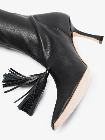 black Agnes 80 tassel leather ankle boots