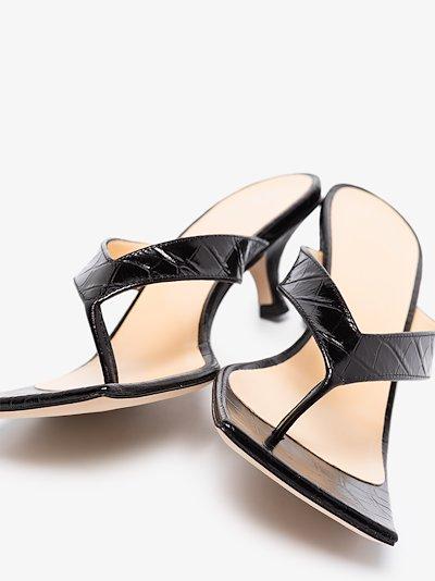 black Kylie 35 croc embossed sandals
