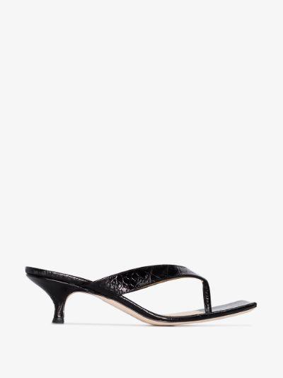 black Kylie 35 mock croc embossed leather sandals