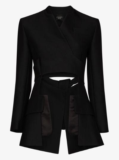 deconstructed wrap blazer