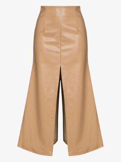 faux leather slit skirt