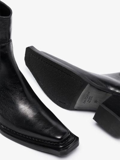 Black Bruna Leather Ankle Boots