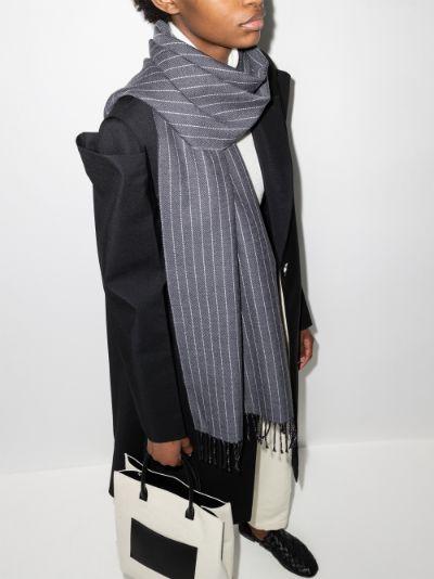 grey canada pinstripe wool scarf