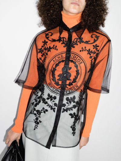 Safi logo embroidered sheer shirt