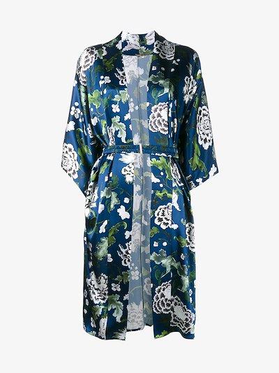 floral print silk kimono jacket