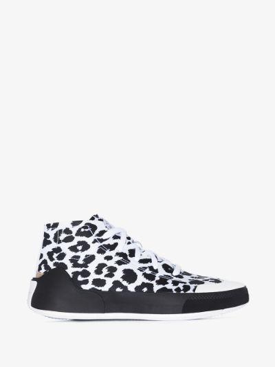 White Treino printed high top sneakers