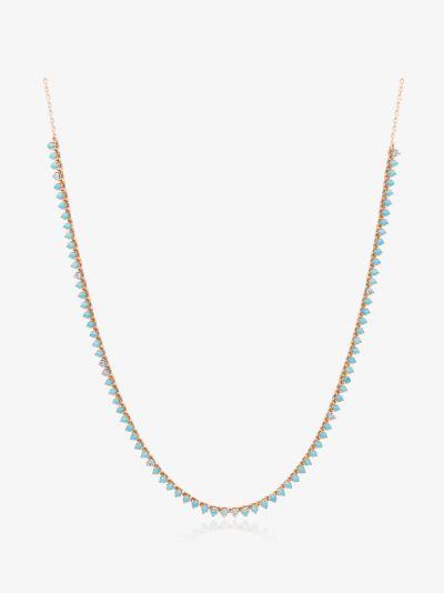 14K yellow gold half riviera turquoise diamond necklace
