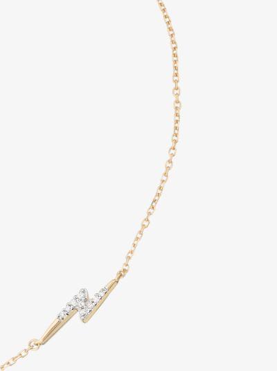 14K yellow gold Lightning bolt diamond anklet