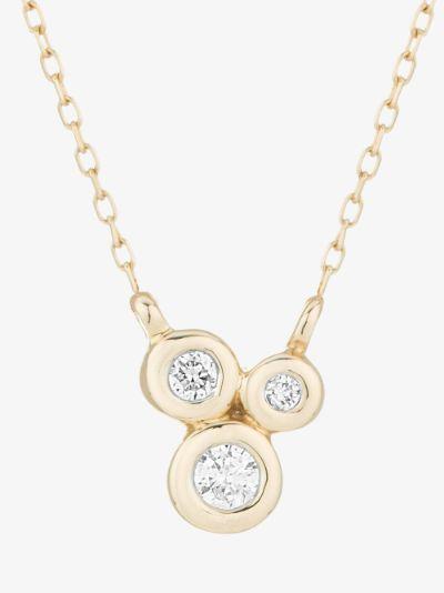 14K yellow gold three diamond barnacles necklace