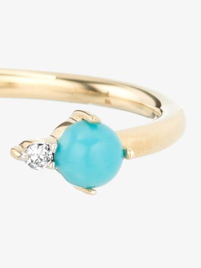 14K yellow gold turquoise diamond ring