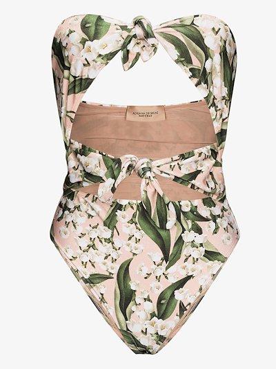 Muguet floral bandeau swimsuit