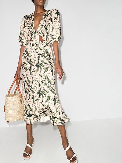 Muguet floral midi dress