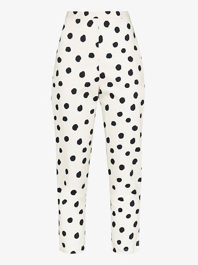 slim cropped polka dot trousers