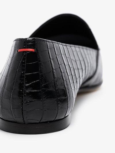 black Aorora mock croc leather pumps