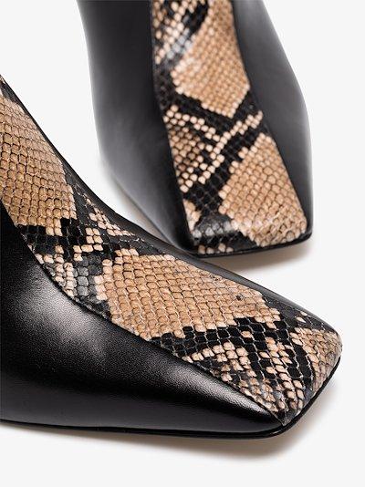 black Jude 75 snake panel leather mules