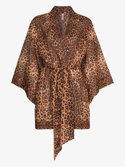 Kittie leopard print kimono robe
