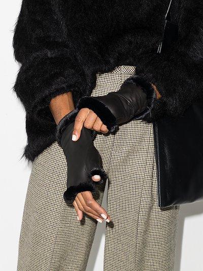 black fingerless leather gloves