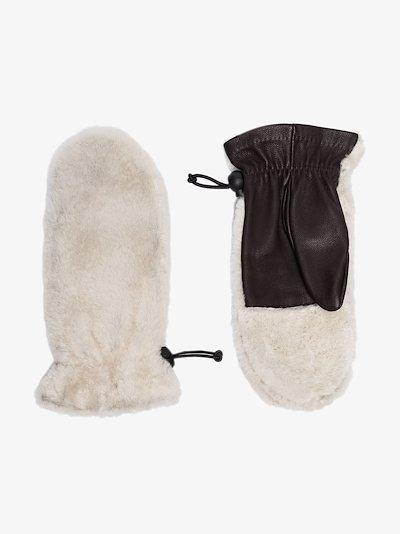Grey Cosetta shearling gloves