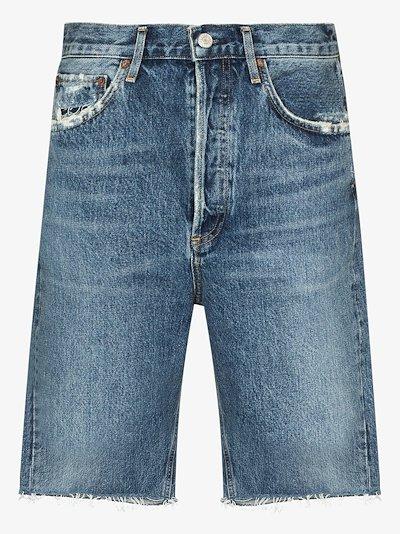 '90s mid-rise frayed denim shorts