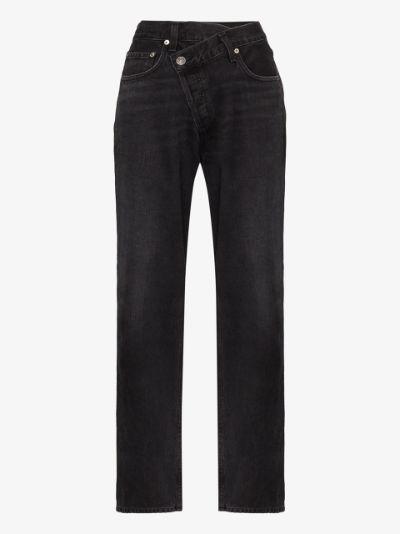 criss-cross wide leg jeans