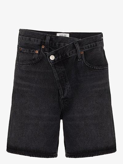 Wrap waist denim shorts