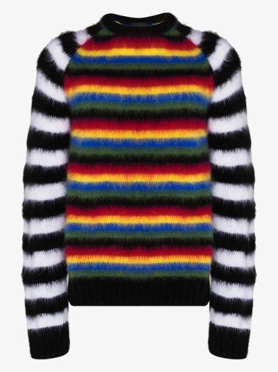 brushed stripe knit sweater