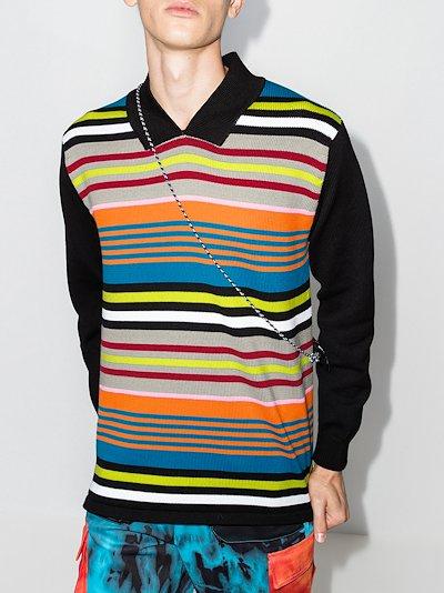 French rib striped polo shirt