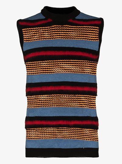 Plaited stripe knit sweater vest